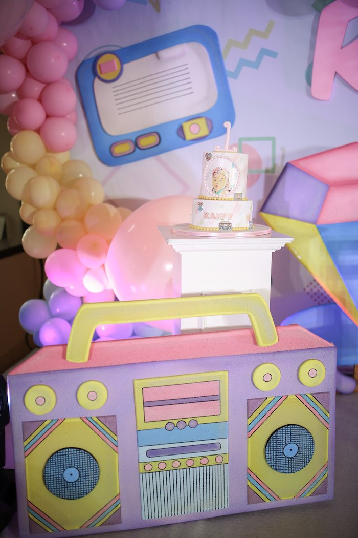 Boom Box Prop from a Pastel 90's Pop Art Birthday Party on Kara's Party Ideas | KarasPartyIdeas.com (26)