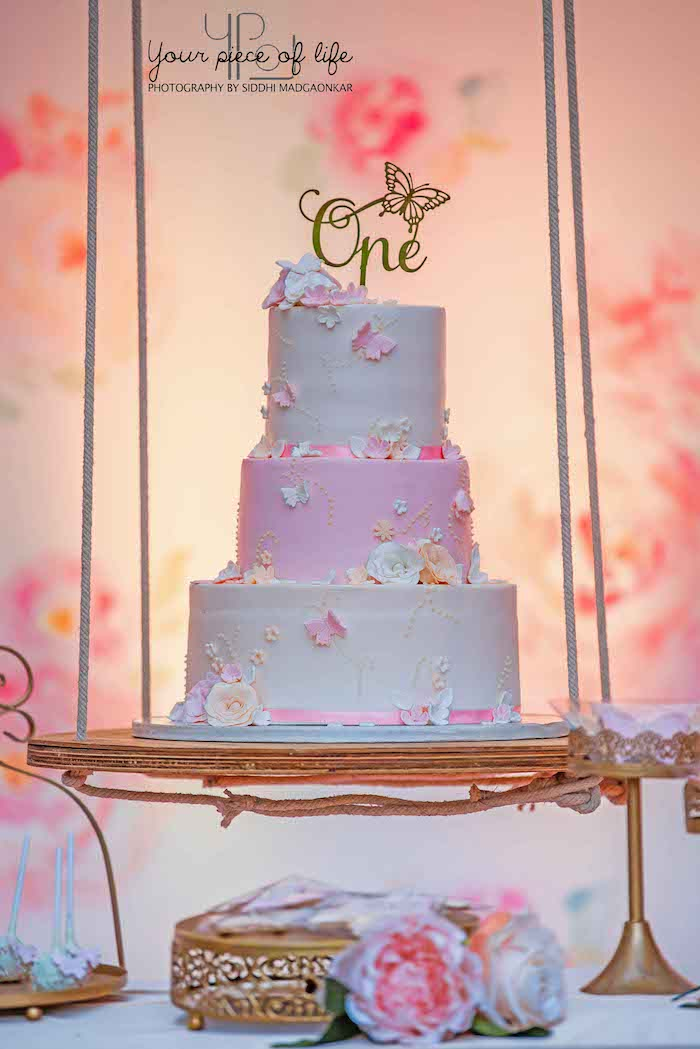 Butterfly-inspired Cake on a Suspended Dessert Tray from a Pastel Butterfly Garden Party on Kara's Party Ideas | KarasPartyIdeas.com (14)