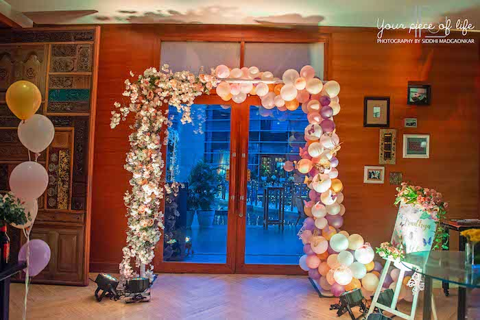 Floral Balloon Arch from a Pastel Butterfly Garden Party on Kara's Party Ideas | KarasPartyIdeas.com (9)
