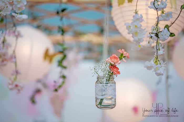 Suspended Mason Jar Floral Arrangement from a Pastel Butterfly Garden Party on Kara's Party Ideas | KarasPartyIdeas.com (19)