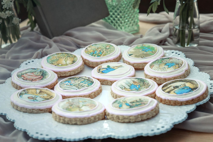 Peter Rabbit Cookies from a Peter Rabbit Baby Shower on Kara's Party Ideas | KarasPartyIdeas.com (26)