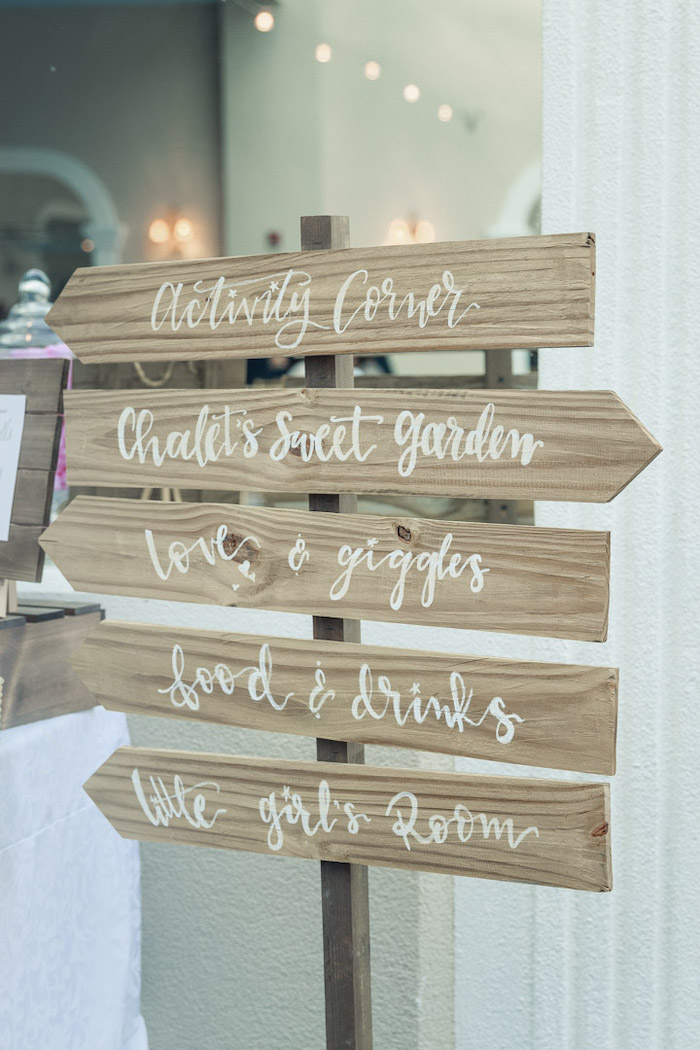 Wood Directional Sign from a Peter Rabbit Baby Shower on Kara's Party Ideas | KarasPartyIdeas.com (23)