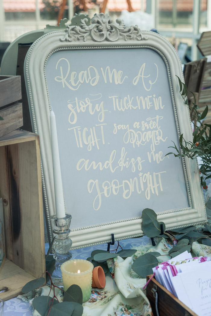 Chalkboard Sign from a Peter Rabbit Baby Shower on Kara's Party Ideas | KarasPartyIdeas.com (13)