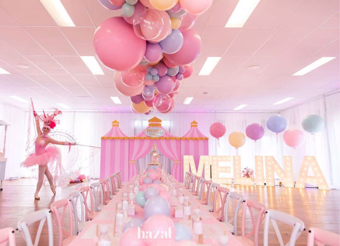 Balloon-covered Guest Table from a Pink Carnival Birthday Party on Kara's Party Ideas | KarasPartyIdeas.com (5)