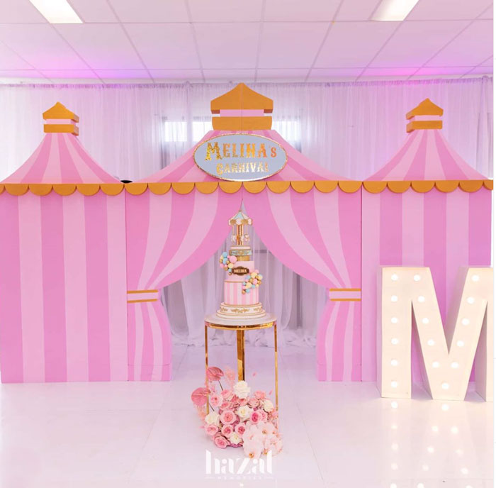Carnival Tent Cakescape from a Pink Carnival Birthday Party on Kara's Party Ideas | KarasPartyIdeas.com (3)