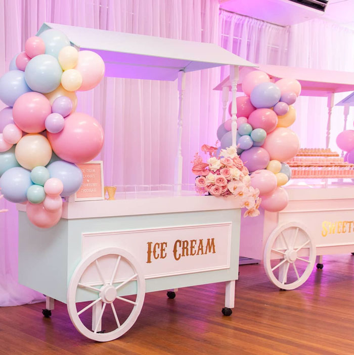 Ice Cream Cart from a Pink Carnival Birthday Party on Kara's Party Ideas | KarasPartyIdeas.com (15)