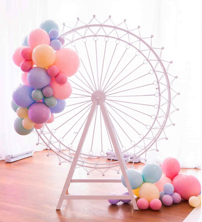 Ferris Wheel Prop from a Pink Carnival Birthday Party on Kara's Party Ideas | KarasPartyIdeas.com (14)