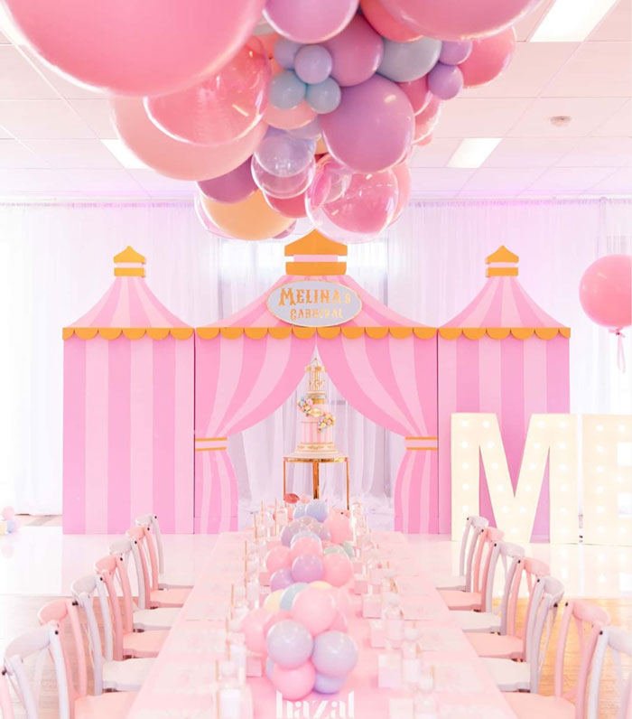 Balloon-covered Guest Table from a Pink Carnival Birthday Party on Kara's Party Ideas | KarasPartyIdeas.com (11)