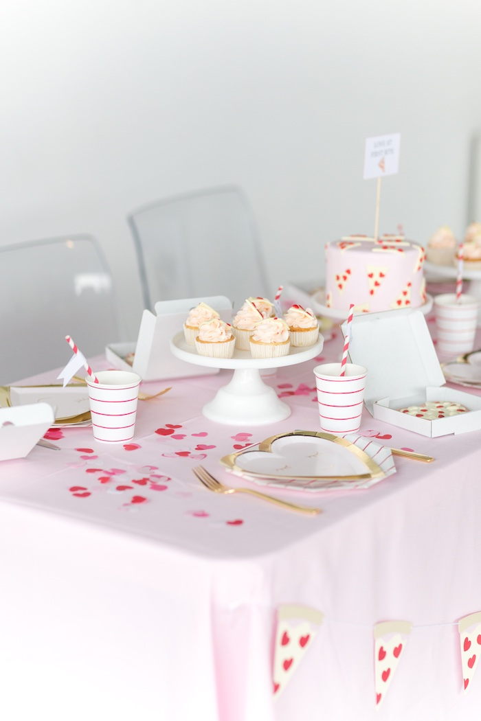 Valentine's Day Party Table from a Pizza Love Valentine's Day Party on Kara's Party Ideas | KarasPartyIdeas.com (23)