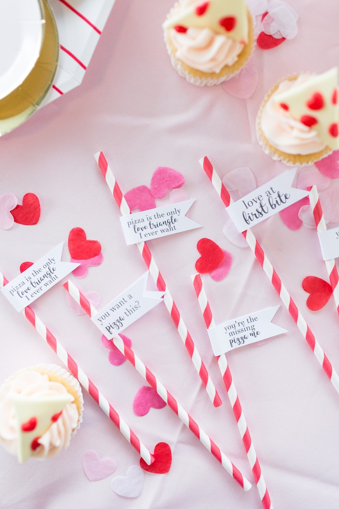 Quoted Valentine's Day Straws from a Pizza Love Valentine's Day Party on Kara's Party Ideas | KarasPartyIdeas.com (9)