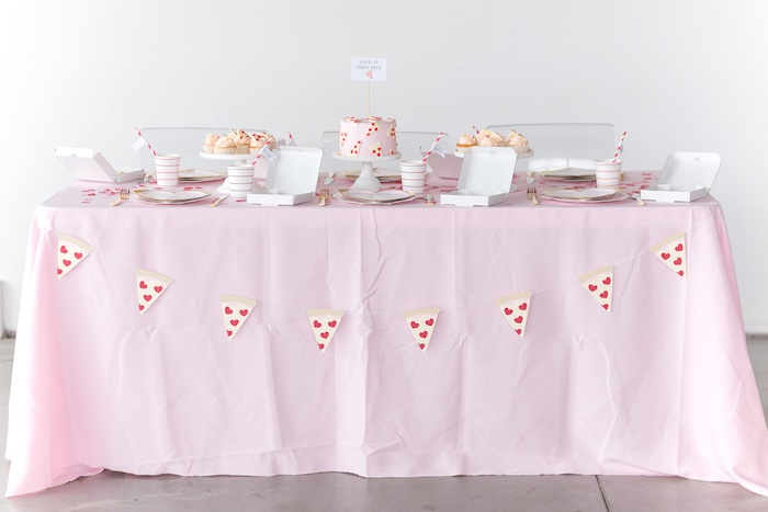 Pizza Love Valentine's Day Party Table from a Pizza Love Valentine's Day Party on Kara's Party Ideas | KarasPartyIdeas.com (36)