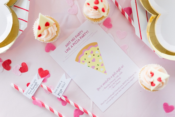 Pizza Slice Party Invite from a Pizza Love Valentine's Day Party on Kara's Party Ideas | KarasPartyIdeas.com (8)