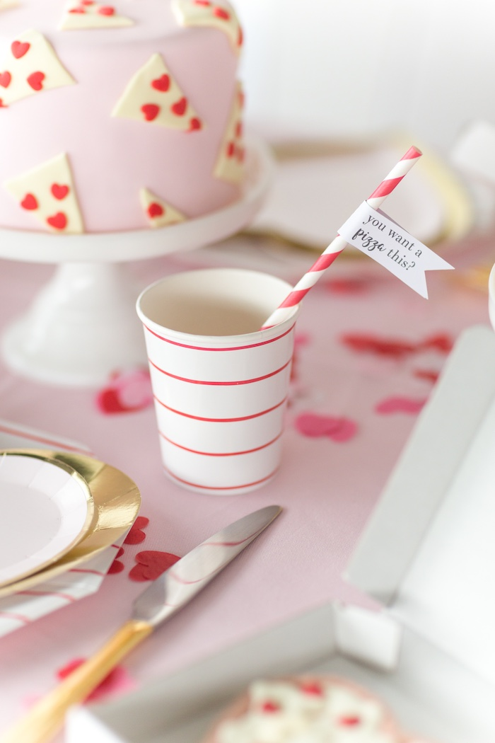 Red & White Striped Cup with Phrased Straw from a Pizza Love Valentine's Day Party on Kara's Party Ideas | KarasPartyIdeas.com (31)