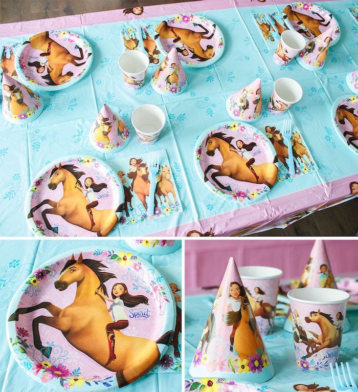 "Spirit Party Tableware from a ""Spirit"" Riding Free Horse Themed Birthday Party on Kara's Party Ideas 