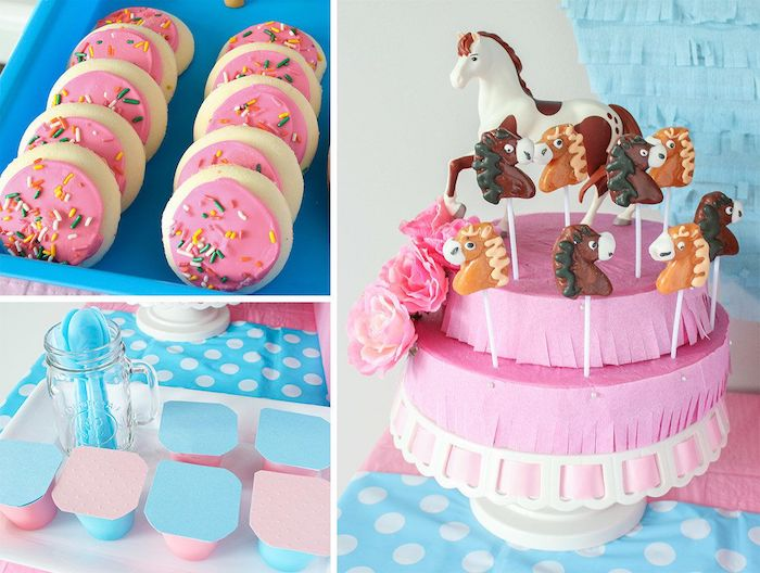 "Pink and Blue Spirit Party Food from a ""Spirit"" Riding Free Horse Themed Birthday Party on Kara's Party Ideas 