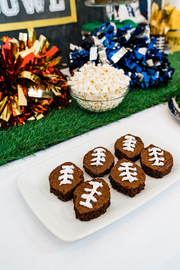 Football Brownies from a Super Bowl Football Fun Party on Kara's Party Ideas | KarasPartyIdeas.com (12)