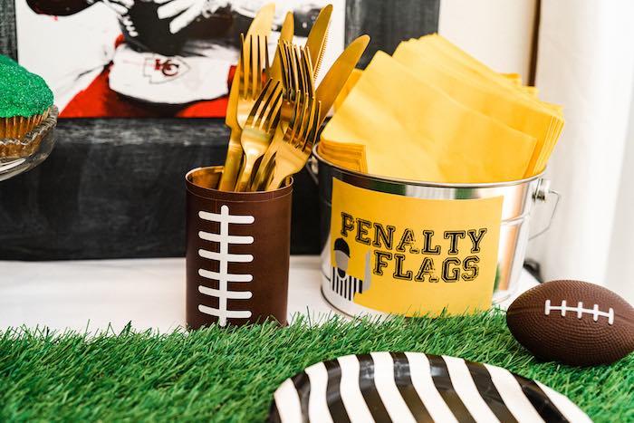 Football Themed Partyware from a Super Bowl Football Fun Party on Kara's Party Ideas | KarasPartyIdeas.com (11)
