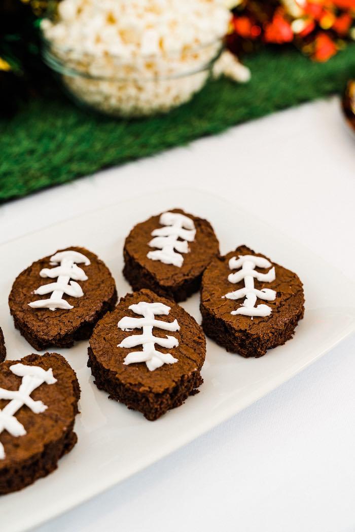 Football Brownies from a Super Bowl Football Fun Party on Kara's Party Ideas | KarasPartyIdeas.com (6)