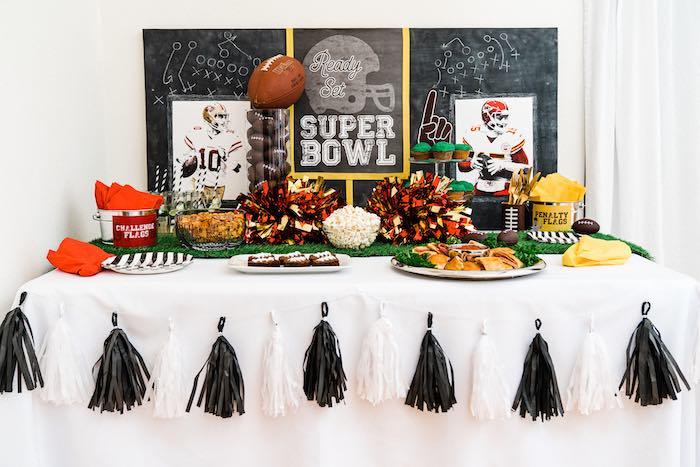 Super Bowl Party Table from a Super Bowl Football Fun Party on Kara's Party Ideas | KarasPartyIdeas.com (4)
