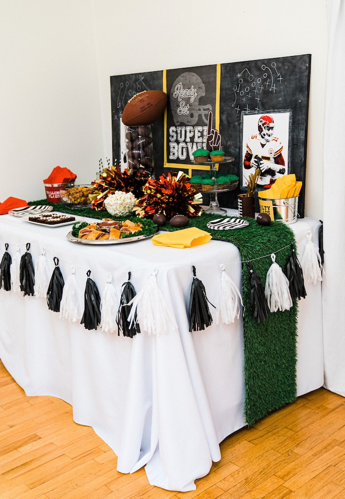 Super Bowl Party Table from a Super Bowl Football Fun Party on Kara's Party Ideas | KarasPartyIdeas.com (21)