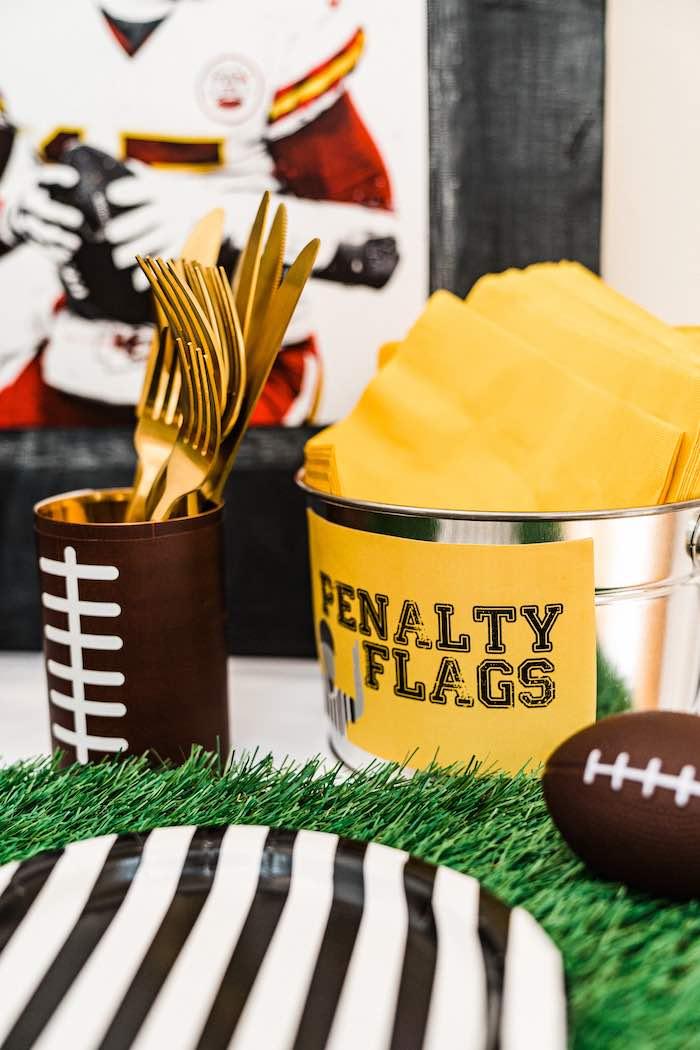 Football Themed Partyware from a Super Bowl Football Fun Party on Kara's Party Ideas | KarasPartyIdeas.com (20)