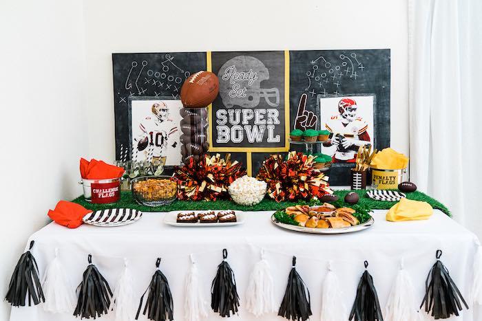 Super Bowl Party Table from a Super Bowl Football Fun Party on Kara's Party Ideas | KarasPartyIdeas.com (18)
