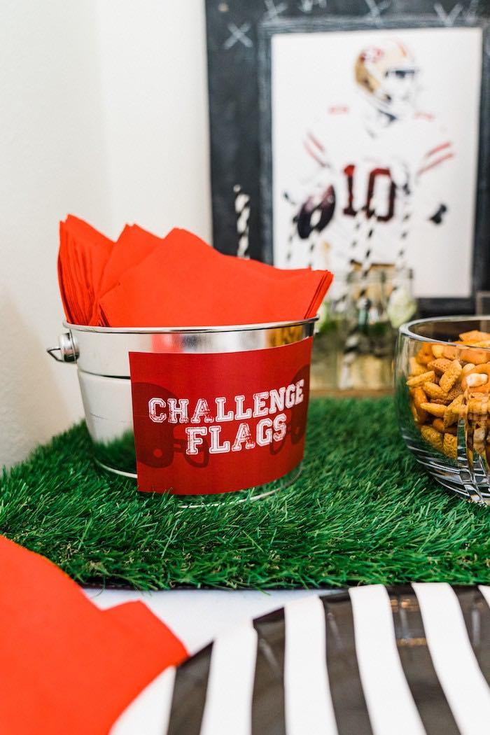 Challenge Flag Napkins from a Super Bowl Football Fun Party on Kara's Party Ideas | KarasPartyIdeas.com (14)