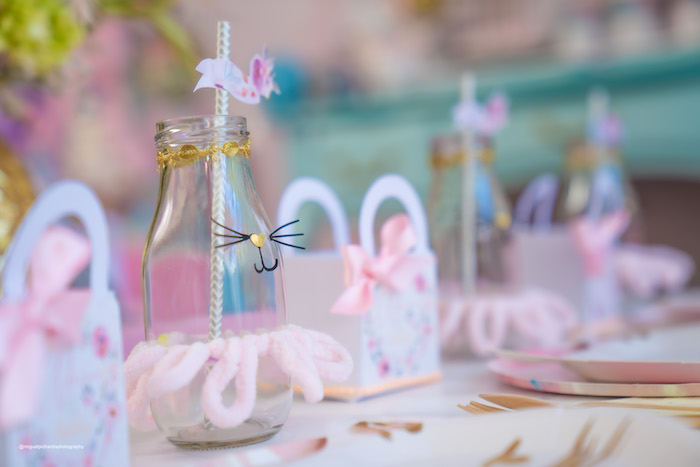 Cat-crafted Milk Bottle from a Vintage Pastel Kitten Birthday Party on Kara's Party Ideas | KarasPartyIdeas.com (21)
