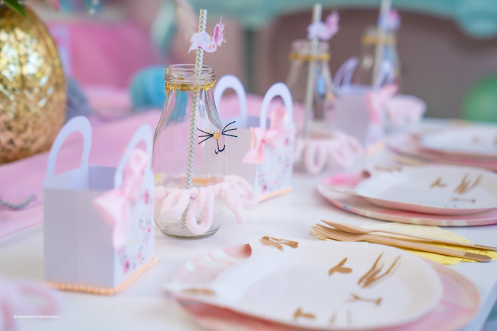Cat Plate Table Setting from a Vintage Pastel Kitten Birthday Party on Kara's Party Ideas | KarasPartyIdeas.com (20)