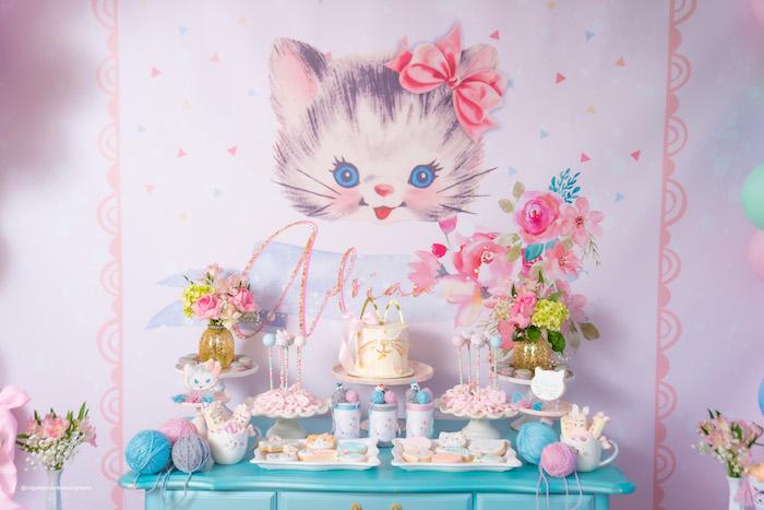 Kitten Themed Dessert Table from a Vintage Pastel Kitten Birthday Party on Kara's Party Ideas | KarasPartyIdeas.com (19)