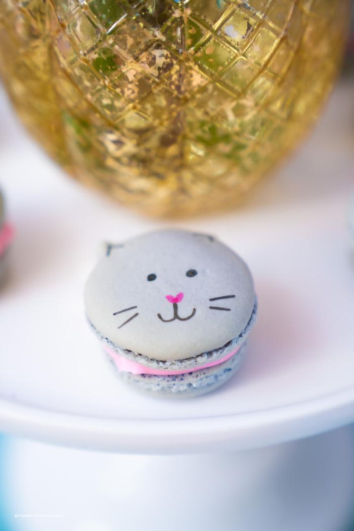 Kitten Macaron from a Vintage Pastel Kitten Birthday Party on Kara's Party Ideas | KarasPartyIdeas.com (18)