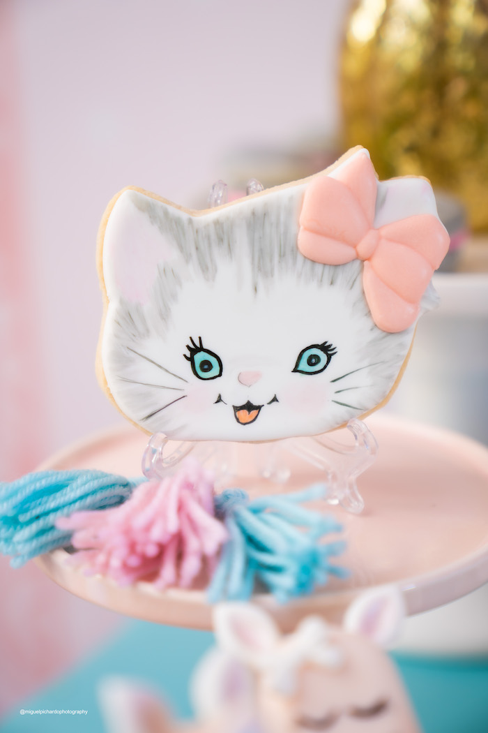 Hand-painted Kitten Cookie from a Vintage Pastel Kitten Birthday Party on Kara's Party Ideas | KarasPartyIdeas.com (17)