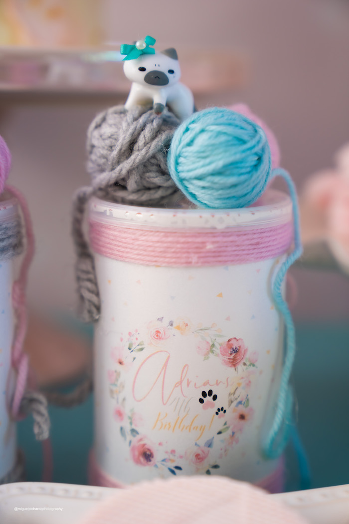 Cat Themed Favor Tube from a Pastel Kitten Birthday Party on Kara's Party Ideas | KarasPartyIdeas.com (15)