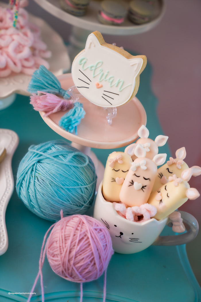 Cat-inspired Dessert Table Detail from a Vintage Pastel Kitten Birthday Party on Kara's Party Ideas | KarasPartyIdeas.com (14)