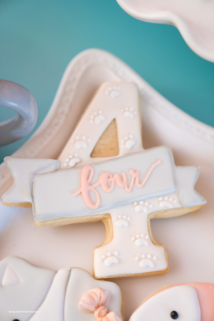Cat Paw Printed Sugar Cookie from a Vintage Pastel Kitten Birthday Party on Kara's Party Ideas | KarasPartyIdeas.com (12)