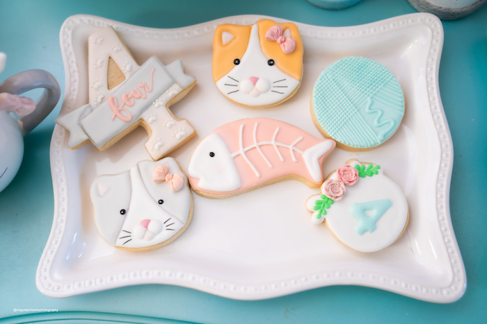 Cat Themed Sugar Cookies from a Vintage Pastel Kitten Birthday Party on Kara's Party Ideas | KarasPartyIdeas.com (11)