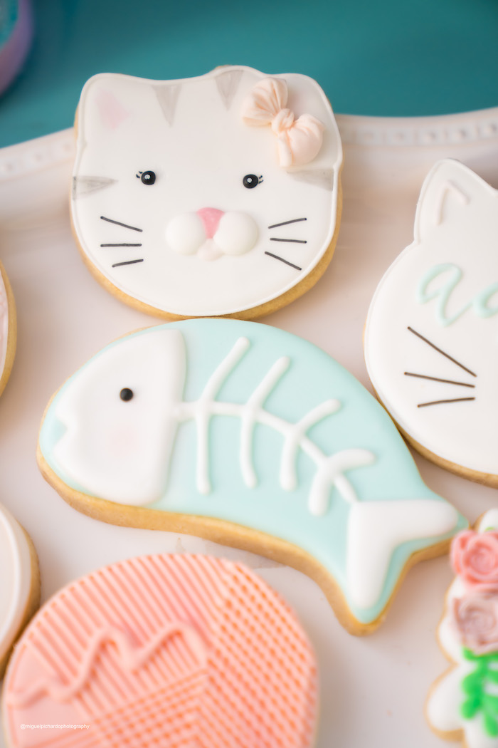 Cat Themed Sugar Cookies from a Vintage Pastel Kitten Birthday Party on Kara's Party Ideas | KarasPartyIdeas.com (10)