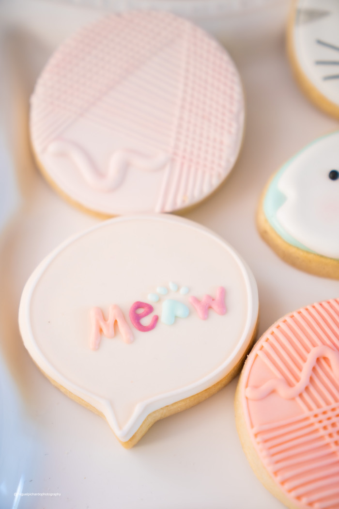 Meow + Cat Cookies from a Vintage Pastel Kitten Birthday Party on Kara's Party Ideas | KarasPartyIdeas.com (9)