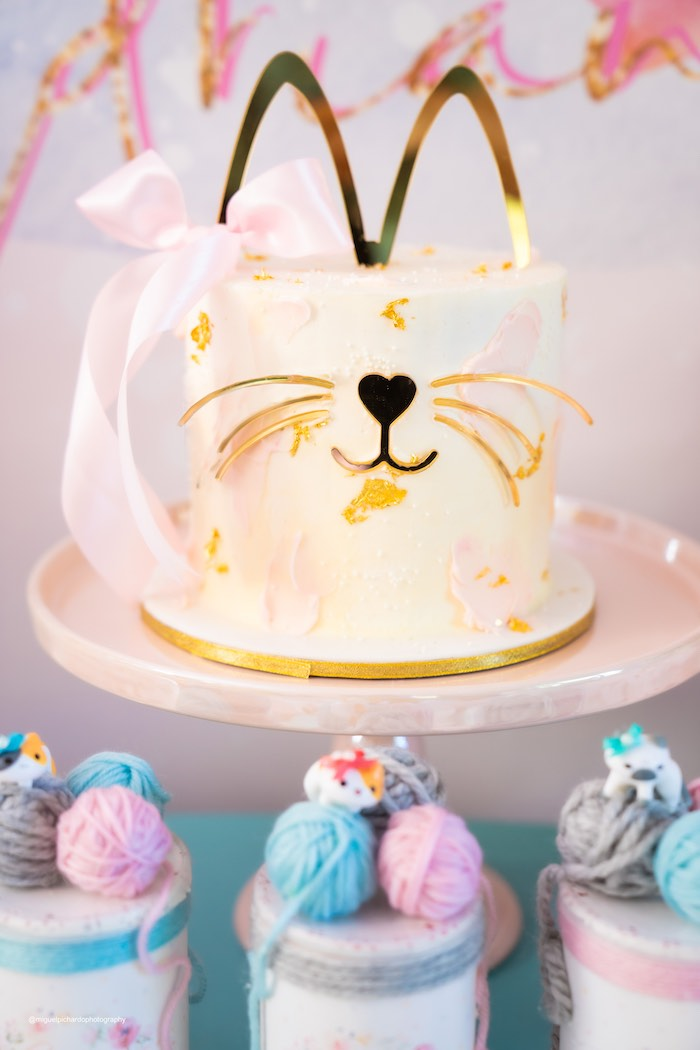 Glam Cat Cake from a Vintage Pastel Kitten Birthday Party on Kara's Party Ideas | KarasPartyIdeas.com (8)
