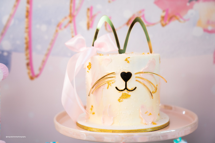 Glam Cat Cake from a Vintage Pastel Kitten Birthday Party on Kara's Party Ideas | KarasPartyIdeas.com (7)