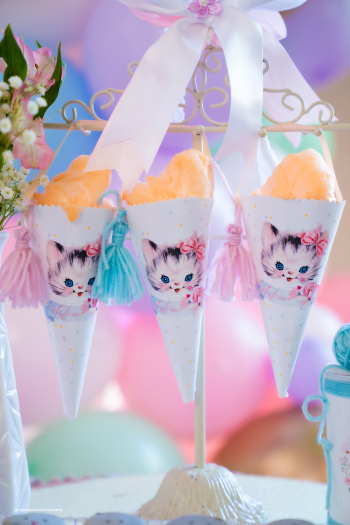 Cat-printed Favor Cones filled with Cotton Candy from a Vintage Pastel Kitten Birthday Party on Kara's Party Ideas | KarasPartyIdeas.com (4)