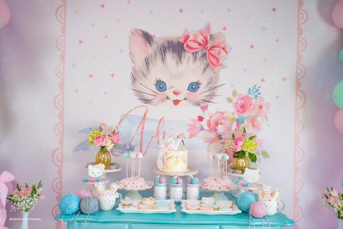 Kitten Themed Dessert Table from a Vintage Pastel Kitten Birthday Party on Kara's Party Ideas | KarasPartyIdeas.com (28)