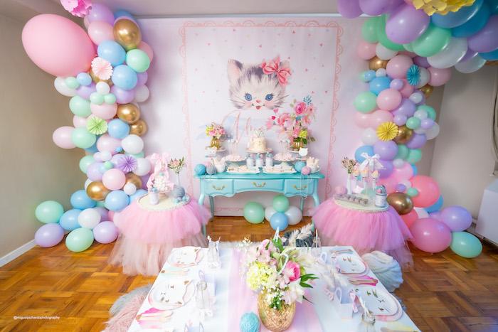 Vintage Pastel Kitten Birthday Party on Kara's Party Ideas | KarasPartyIdeas.com (27)