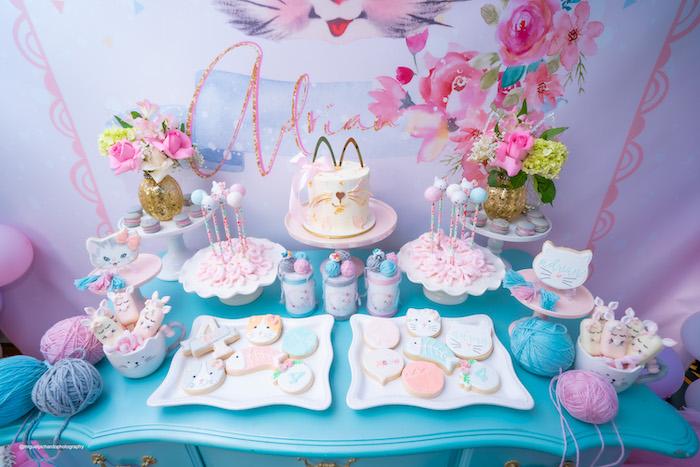 Kitten Themed Dessert Table from a Vintage Pastel Kitten Birthday Party on Kara's Party Ideas | KarasPartyIdeas.com (26)