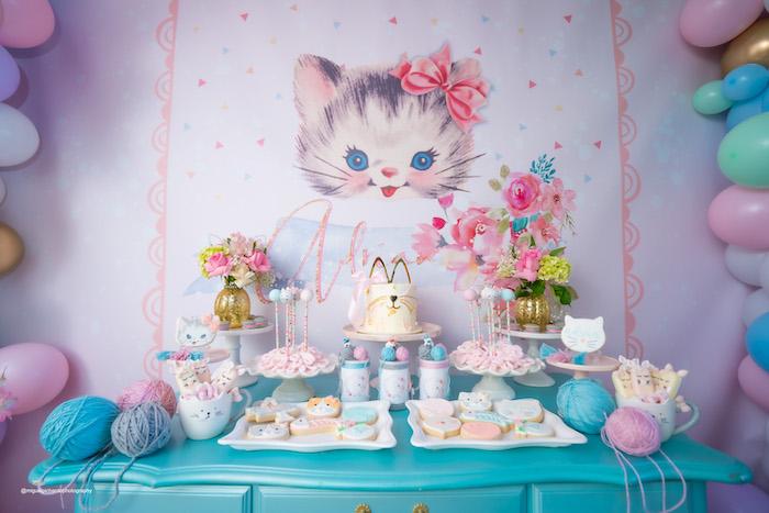 Kitten Themed Dessert Table from a Vintage Pastel Kitten Birthday Party on Kara's Party Ideas | KarasPartyIdeas.com (25)