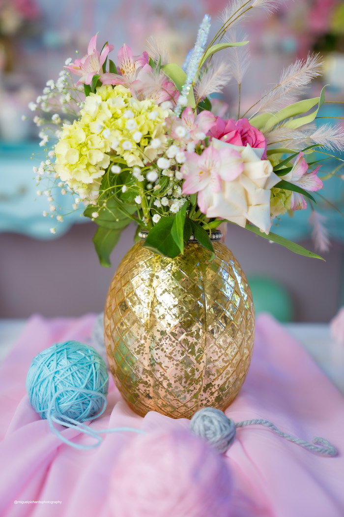 Gold-vased Floral Arrangement from a Vintage Pastel Kitten Birthday Party on Kara's Party Ideas | KarasPartyIdeas.com (24)