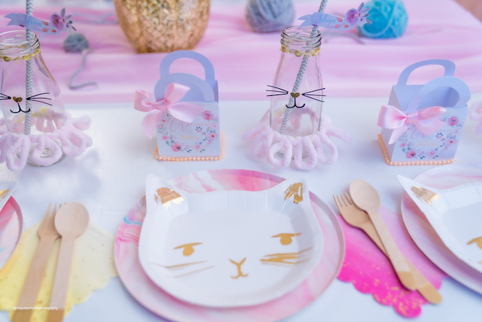 Cat Plate Table Setting from a Vintage Pastel Kitten Birthday Party on Kara's Party Ideas | KarasPartyIdeas.com (23)