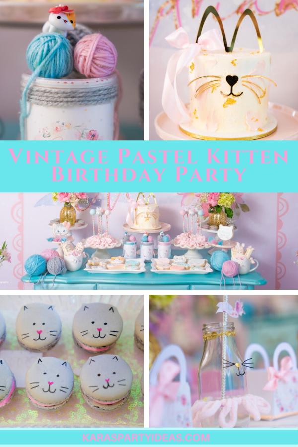Vintage Pastel Kitten Birthday Party Shower via Kara's Party Ideas - KarasPartyIdeas.com