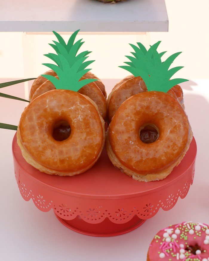 "Pineapple Donuts from an ""Aloha ONE"" Tropical 1st Birthday Party on Kara's Party Ideas 