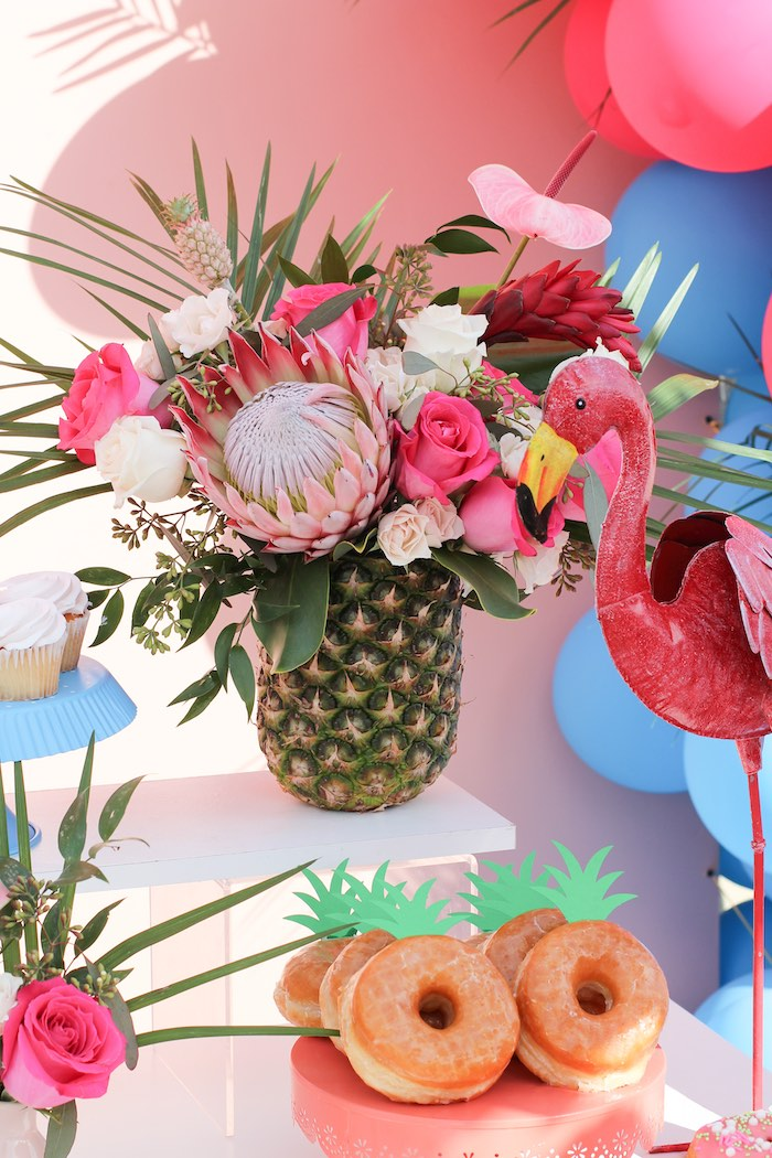"Pineapple Floral Arrangement from an ""Aloha ONE"" Tropical 1st Birthday Party on Kara's Party Ideas 